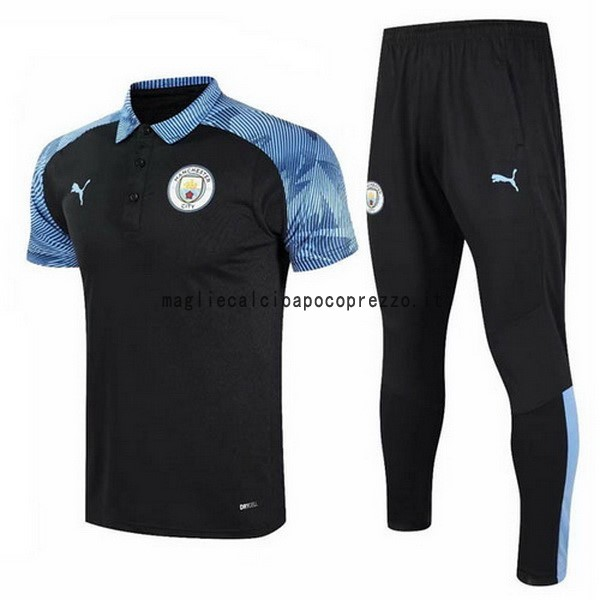 Set Completo Polo Manchester City 2020 2021 Blu Nero