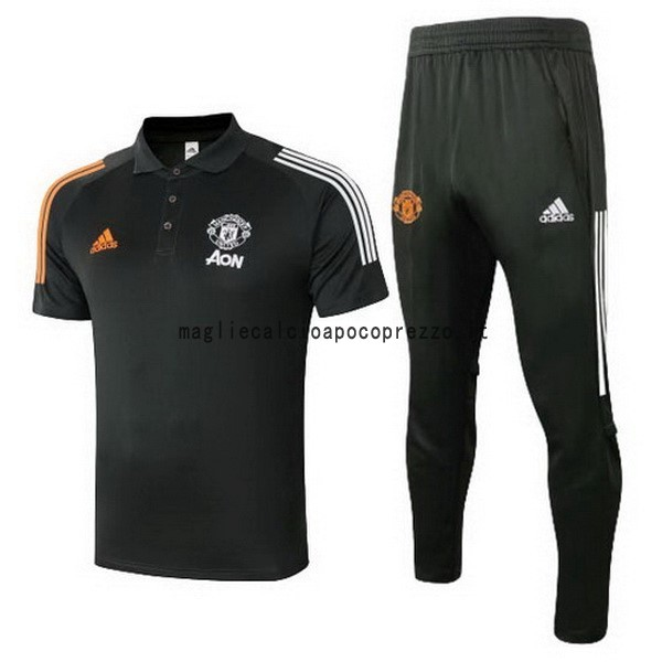 Set Completo Polo Manchester United 2020 2021 Nero